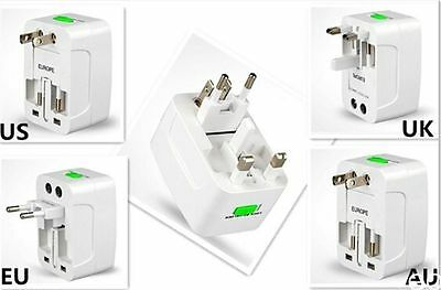 2pc All In One Power Adapter Wall Charger Socket Travel Plug Converter US EU UK