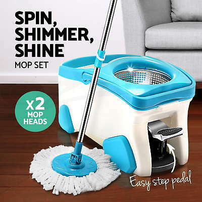 NEW 360 Degree Spinning Mop &Stainless Steel Spin-Dry Bucket w/ 2 Mop Heads Free