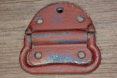 "Tool Box drop trunk Handle chest Pull old vintage iron 4 7/8"" red white blue"