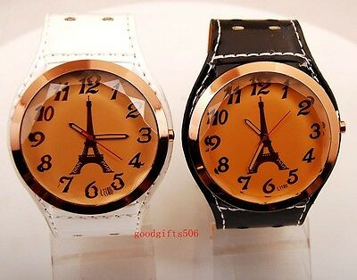 New 8pcs Fashion girls women Tower Dial wide leather wrist watches gifts LK60