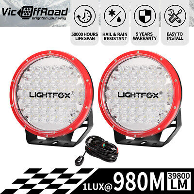 Pair 7inch LED Driving Lights Work Spotlights Cree Round Offroad 4WD12V 24V Red