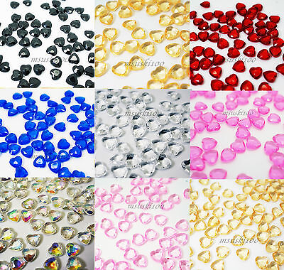 500pcs Hearts Shaped Diamond Confetti Wedding Table Scatters 6mm Beads Crystals