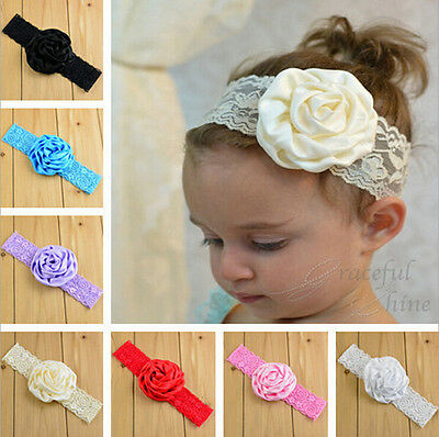 Kids Baby Girl Toddler Lace Roseo Flower Headband Hair Band Headwear Accessories