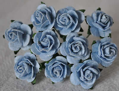 50 BABY BLUE ROSE (1.5cm) Mulberry Paper for weddings crafts cardmaking