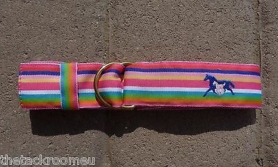 EQ Ribbon Belt Pink Stripe Embroidered Horse Girls SMALL