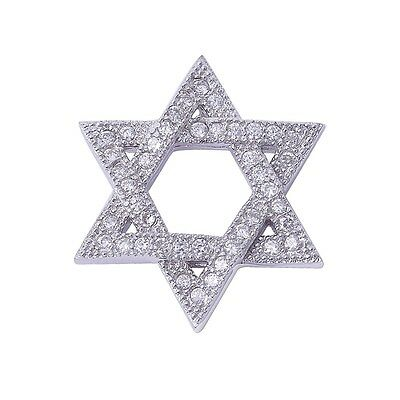 Micro Pave Cubic Zirconia Star of David Charm .925 Sterling Silver Pendant