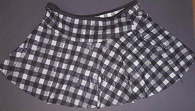 NWT Foil black white check drop waist check pull up dance skirt tap Jazz ladies