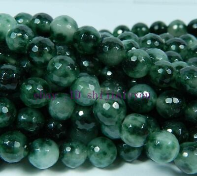 """New 6mm Emerald Faceted Round Loose Beads Gemstone 15"""""""