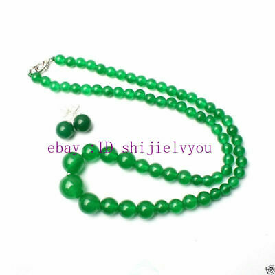 New 6-14mm Natural Green Jade Round Beads Necklace Earrings Set