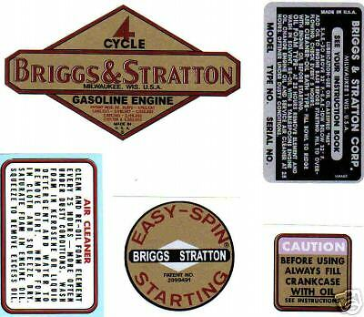 Briggs & Stratton 1961-1963 decal  Alum 2-8-hp Vertical Set of 5