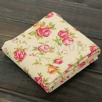 51x51cm Vintage Rose Style Natural Cotton Linen Fabric Patchwork Sewing Craft