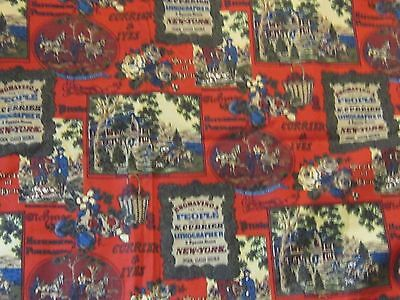 Currier and Ives vintage retro old fashioned jobs upholstery fabric material