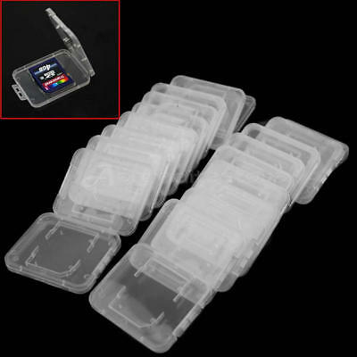 20x Transparent Plastic Cases Box Storage for Memory Card Cases SD SDHC Cards