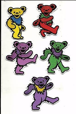 Set Of 5 Grateful Dead Embroidered Jerry Bear Patch Red Green Yello Purple Pink