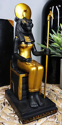 Egyptian Lioness Goddess Sekhmet Ra Sitting On Throne Statue Deity Of War Decor