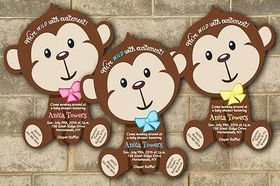 Jungle Monkey Safari Baby Shower Invitations Boy Invites Zoo Birthday Party