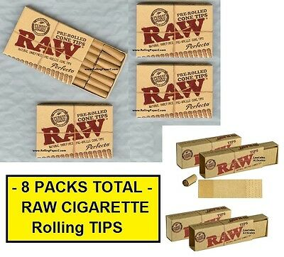 8PKS RAW Rolling Paper TIPS 4X Pre-Rolled PERFECTO CONE+ 4X PERFORATED GUMMED