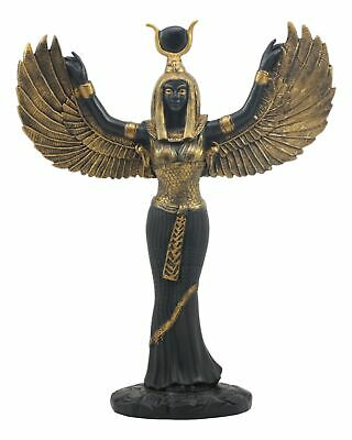 Ancient Egyptian Goddess Isis Open Wings Fantasy Figurine Black and Gold Statue