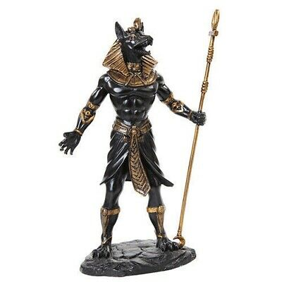 Ancient Egyptian God Anubis Holding Staff Fantasy Figurine Black and Gold Statue