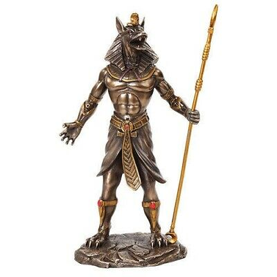 Ancient Egyptian God Anubis Holding Staff Fantasy Figurine Bronze Finish Statue
