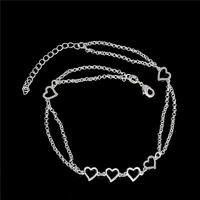 Hearts Double Chains silver Beach Foot Jewelry Bracelet Anklet