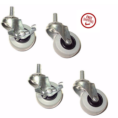 "Set of 4 Rubber Swivel Stem Casters with 2"" Wheels & 3/8"" Threaded Stem 2 Brakes"