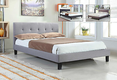 Modern Fabric Upholstered Grey Brown Black Bed Frame Double King Size
