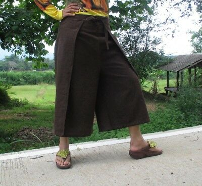 Drive In Wrap Around Pants Cotton Stone Front Tie Casual In Dark Brown