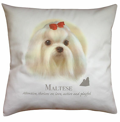 Maltese Breed of Dog Cotton Cushion Cover with Story - Perfect Gift
