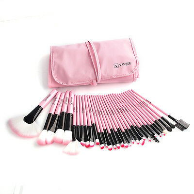 PINK 32 PCS Makeup Brush Set Pro ma Make up Cosmetic Brushes Kit + Pouch Case