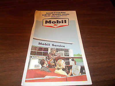 1965 Mobil Northern New England Vintage Road Map