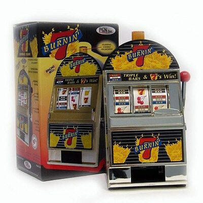 Burning 7's Slot Machine Bank with Spinning Reels - Flashing Lights and Bells