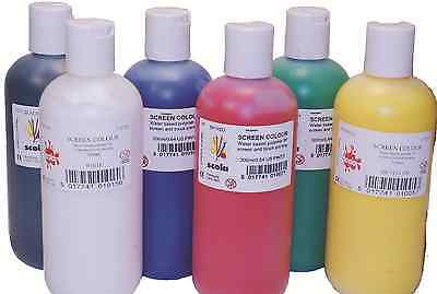 6 BRIGHT COLOURS SCOLA ARTPRINT SCREEN PRINTING INK WATER BASE PAINT 300ml TUBES