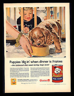 "Original 1960 ""friskies Dog Food"" Baby Cocker Spaniel Baby Vintage Art Print Ad"