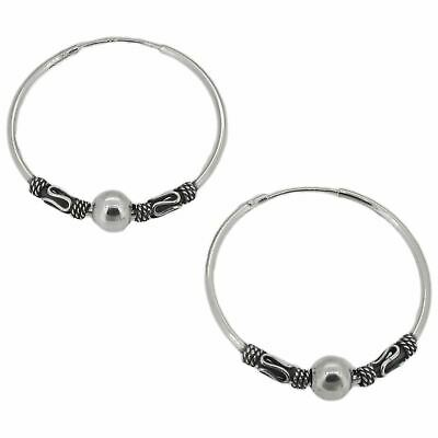 Sterling Silver Indo / Bali Style Hoops with Ball 27mm Diameter - Hoop Earrings