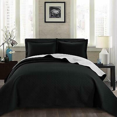 3-Piece Black White Pinsonic Quilted Reversible Bedspread Set King Size