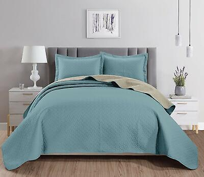 3-piece Spa Blue Khaki Pinsonic Quilted Reversible Bedspread Set King Size