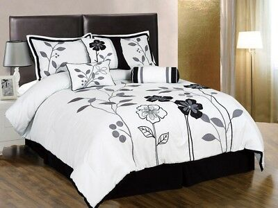 7pcs White Gray Black Embroidered Applique Floral Lily Comforter Set Full