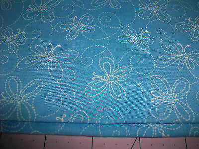 Faux Stitched Butterfly Design Cotton Quilt Fabric