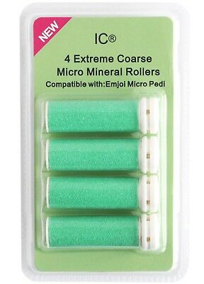Emjoi Micro Pedi 4 x Extreme Coarse Green Micro Mineral Replacement Rollers NEW