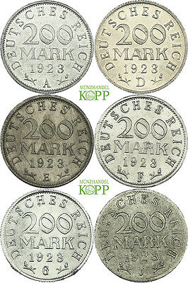 V157) 6er Lot J.304 WEIMARER REPUBLIK 200 Mark 1923 A-J, alle Prägeorte