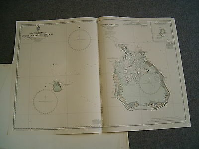 Vintage Admiralty Chart 2510 APPROACHES TO COCOS or KEELING ISLANDS 1962 edn