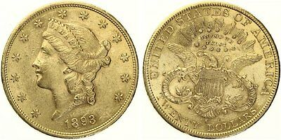 B629 USA 20 Dollar 1893 S Liberty  GOLD