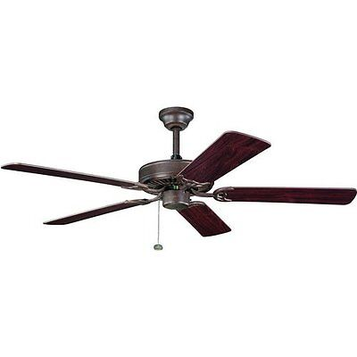 """Tannery Bronze 52"""" Ceiling Fan With Teak/Cherry Blades"""