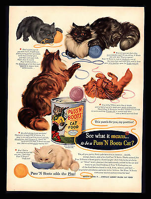 Original 1951 Puss' N Boots Cat Food  Kittens Playing String  Art Print Ad