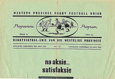 Southern Universities v Australia 26 Jun 1963 Cape Town RUGBY PROGRAMME