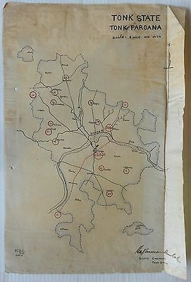 "India vintage Map of Tonk State hand drawn on cloth like paper 9.25"" x 13.5"""