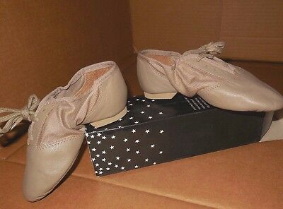 NEW BOX CAPEZIO LEATHER Tan 358C  SPLIT SOLE JAZZ SHOES CHILD sizes only