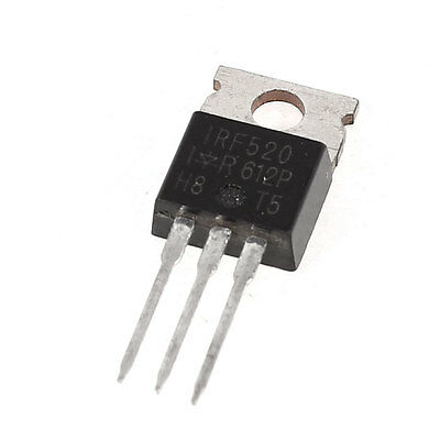 IRF520 High Voltage Semiconductor TO-220 3 Terminal NPN Power Transistor
