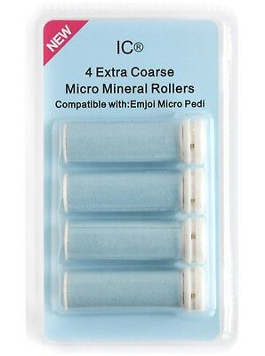 Emjoi Micro Pedi 4 x Extra Coarse Micro Mineral Replacement Rollers by IC® NEW